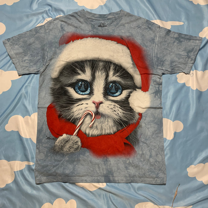 kitten claus chirstmas kitty cat tie dye t shirt