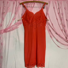 Load image into Gallery viewer, vintage VANITY FAIR bright coral red lace slip dress