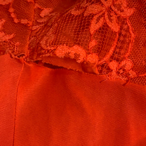 vintage VANITY FAIR bright coral red lace slip dress
