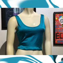 Load image into Gallery viewer, vintage 1980s aqua blue spandex crop top