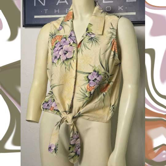 silk TOMMY BAHAMA floral hawaiian blouse