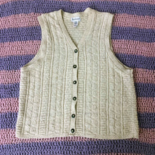 Load image into Gallery viewer, women's VAN HEUSEN beige knit sleeveless cardigan