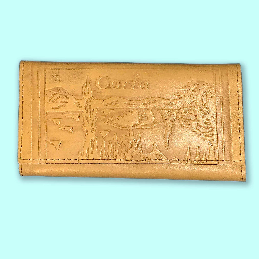 vintage greecian embossed leather wallet
