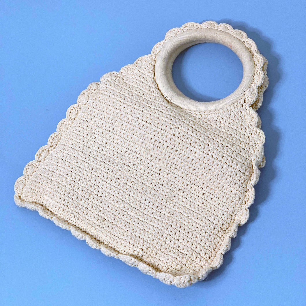 cream crochet macrame handbag