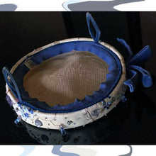 Load image into Gallery viewer, 1940s beaded blue velour low pillbox hat