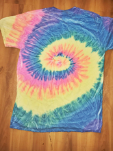 Load image into Gallery viewer, muted pastel tie dye spiral t shirt