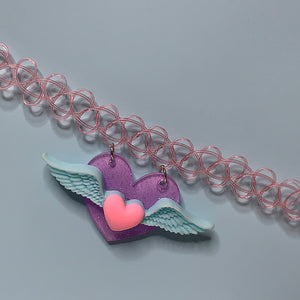 pastel CANDY WINGS pendant tattoo choker