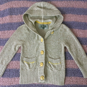 FOSSIL beige knit cardigan with hood