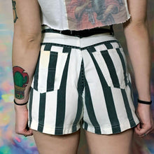 Load image into Gallery viewer, vintage 1990s high rise striped denim shorts