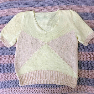 vintage pale yellow and pink knit sweater