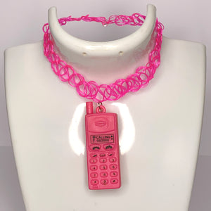 pink NEON NOKIA tattoo choker necklace