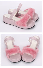 Load image into Gallery viewer, faux fur lolita platform wedge sandals (pink, black or white)
