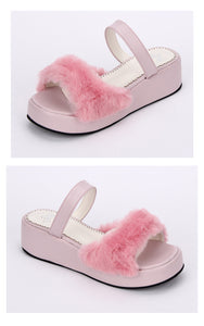 faux fur lolita platform wedge sandals (pink, black or white)