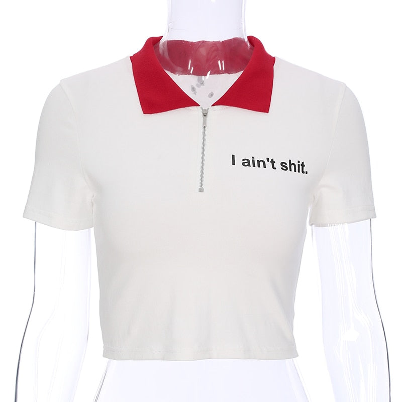 i ain't shit cropped polo tee