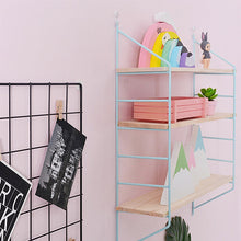 Load image into Gallery viewer, pink / blue / black / white three tier shelf