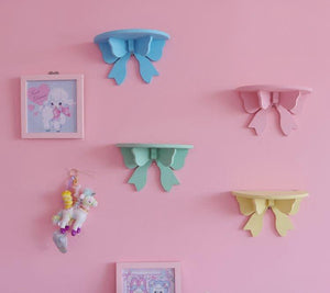 pastel pink / purple / blue / green / yellow / white decorative wooden bow shelf