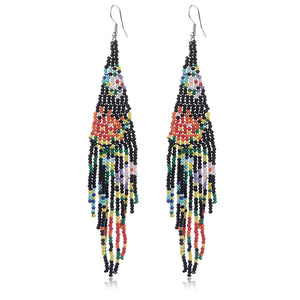 floral fringe beaded earrings