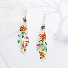 Load image into Gallery viewer, floral fringe beaded earrings