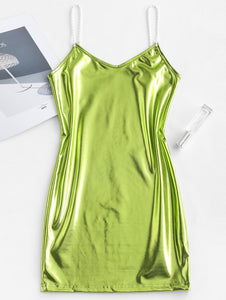 metallic pearl mini slip dress