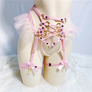 pink bow open bust harness set