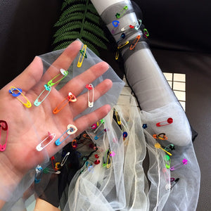 avant garde safety pin tulle socks