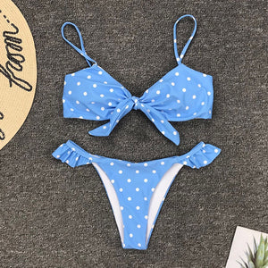 cloud blue polka dot push up bikini