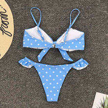 Load image into Gallery viewer, cloud blue polka dot push up bikini