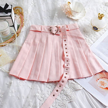 Load image into Gallery viewer, pink / white / black pleated heart buckle mini skirt