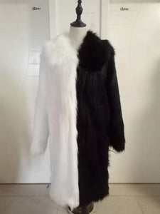 unisex black & white color block faux fur hooded coat