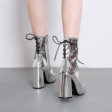 Load image into Gallery viewer, mirrored chrome block heel ankle boots