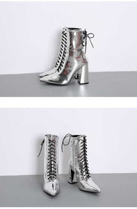 mirrored chrome block heel ankle boots