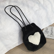 Load image into Gallery viewer, black & white faux fur shoulder bag