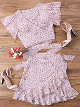 Load image into Gallery viewer, ZAFUL Women Sets Dandelion Crop Wrap Top And Skirt Set Sweet Two Piece Set Pink Streetwear Polka Dot Chic Vintage Girl's Sets