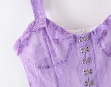 Load image into Gallery viewer, lavender lace mini dress