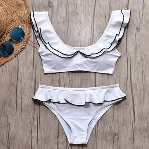 black & white ruffled collar & skirt bikini