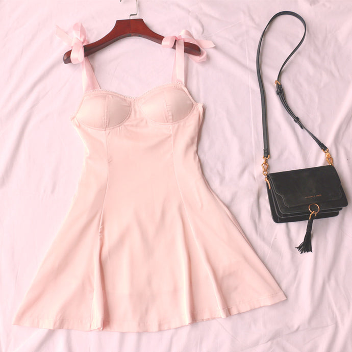 pink satin baby girl dress
