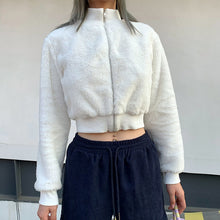 Load image into Gallery viewer, white faux fur cropped bomber jacket