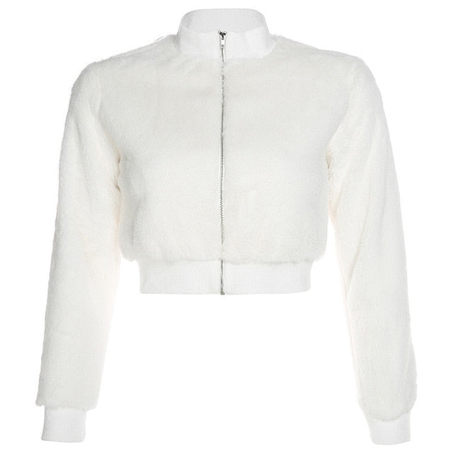 white faux fur cropped bomber jacket