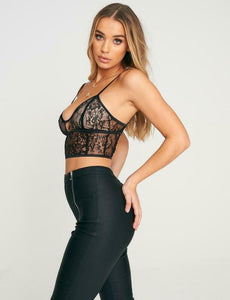black / white floral lace cropped cami