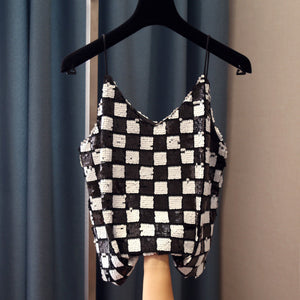 sequin check camisole