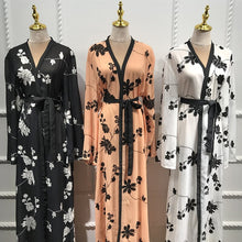 Load image into Gallery viewer, white / black / nude floral chiffon robe