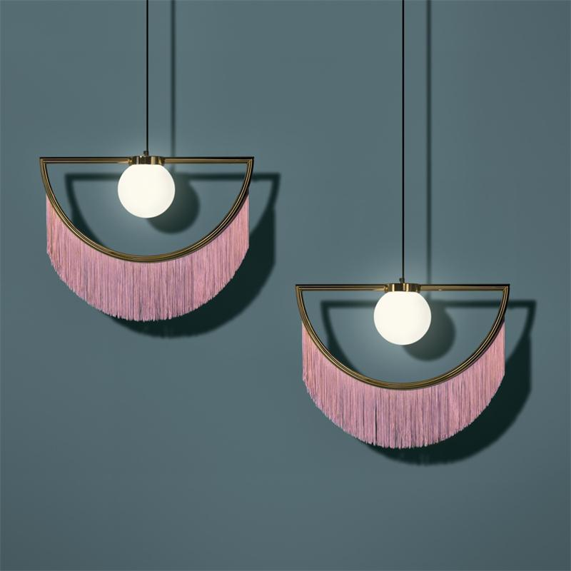 art deco fringe pendant light