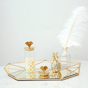 mirrored gold / rose gold vanity tray