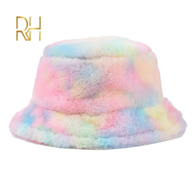 pastel rainbow faux fur bucket hat