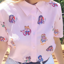 Load image into Gallery viewer, pale pink sailor moon button down shirt