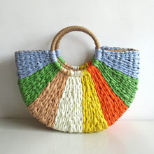 Load image into Gallery viewer, rays of sun woven straw handbag