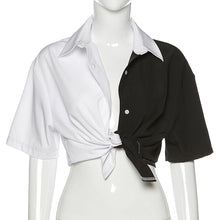Load image into Gallery viewer, b&w button down crop shirt