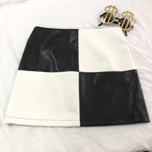 Load image into Gallery viewer, b&w patent color block mini skirt