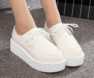 classic black and white platform creepers