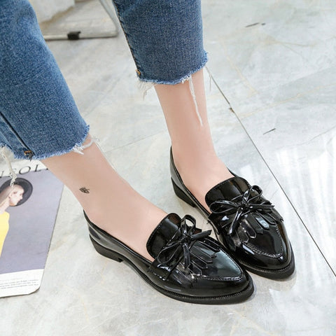 Image of Dropshipping Gtime Flat Shoes Women Casual Tassel Bow Pointed Toe Oxford Shoes for Woman Flats Comfortable Slip on Shoes ZSTM43